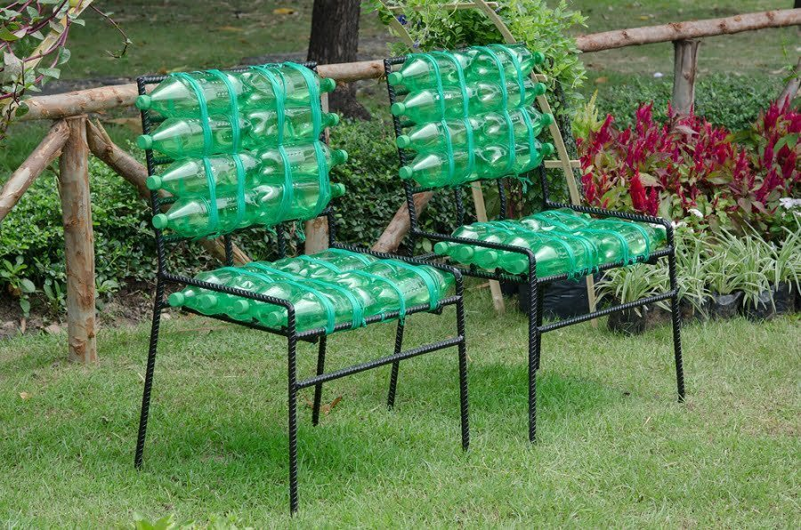 recycled chairs made from plastic bottles